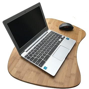 Bambú bandeja para ordenador portátil de tamaño Extra grande | bambú natural Lapdesk superficie con cojín