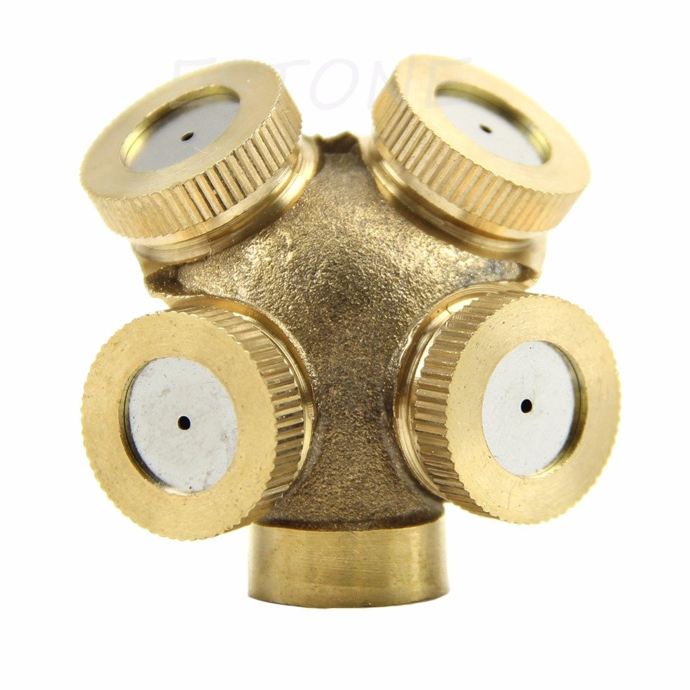 4 Hole Adjustable Brass Spray Misting Nozzle Gardening Sprinklers