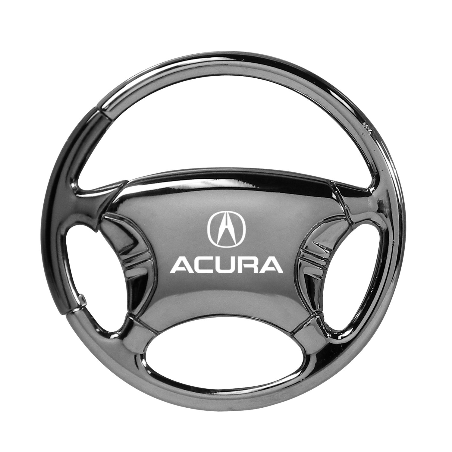Acura Black Chrome Steering Wheel Key Chain Au-Tomotive Gold INC