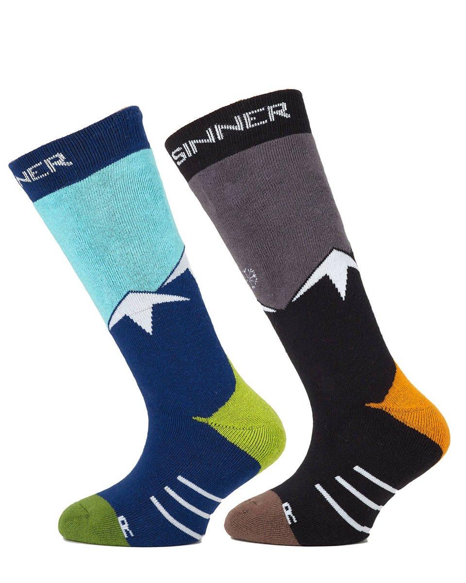 Sinner Kids Ski Mountain Socks Blue Grey Twin Pack