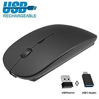 Mouse wireless ricaricabile 2,4 G silenzioso portatile mouse mouse wireless con ricevitore USB Nano e adattatore USB-C, mouse ottico per PC Laptop iMac MacBook Microsoft Pro, Office Home