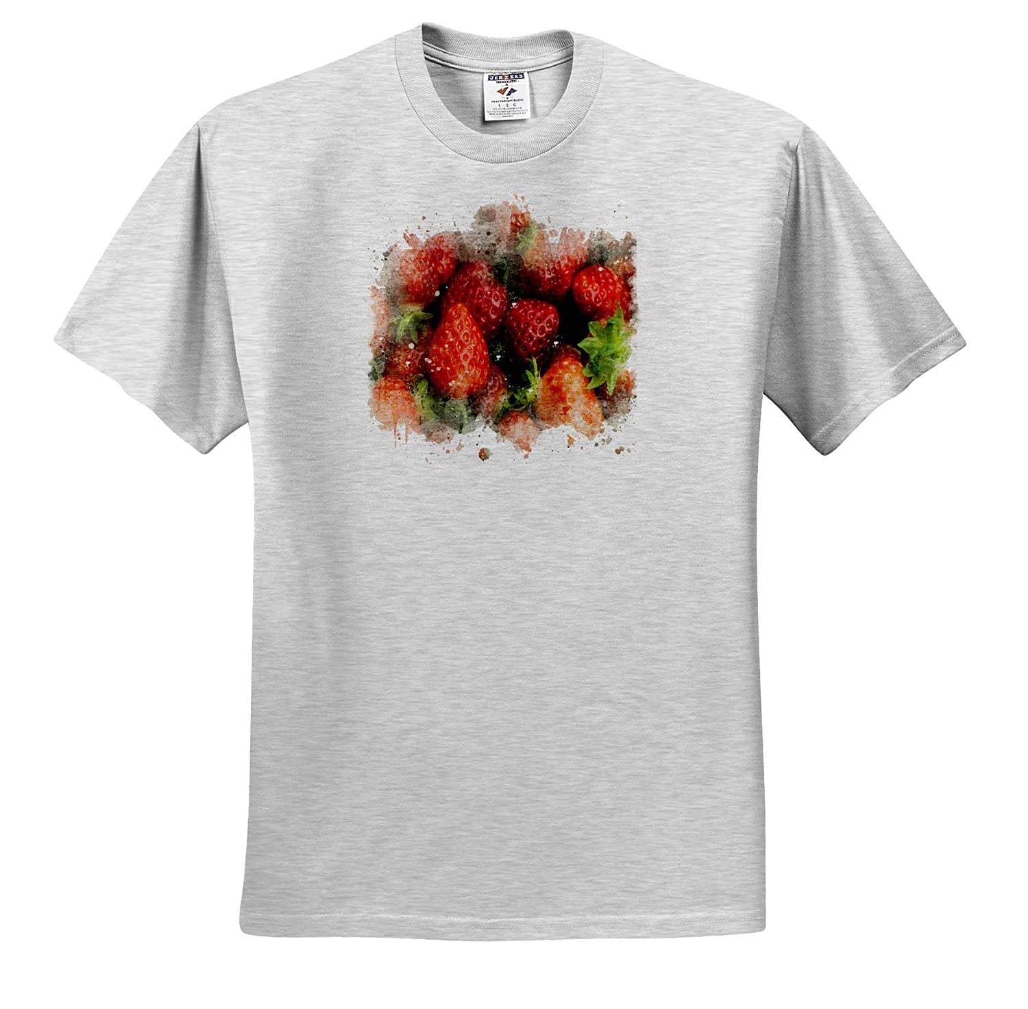 Adult T-Shirt XL 3dRose Anne Marie Baugh Image of Watercolor Strawberry Art Impressionist Mixed Media Art ts/_318643