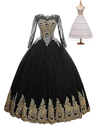 ad0dfa9eae7 Fatapaese Lace Long Sleeve Prom Evening Gown for Women Formal(Black
