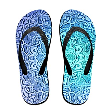 Blue Floral Pattern Stylish Lightweight Women's Men's Personalized V Flip Flops