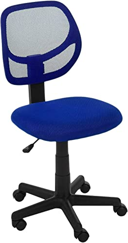 AmazonBasics Low-Back Computer Task Office Desk Chair with Swivel Casters – Blue