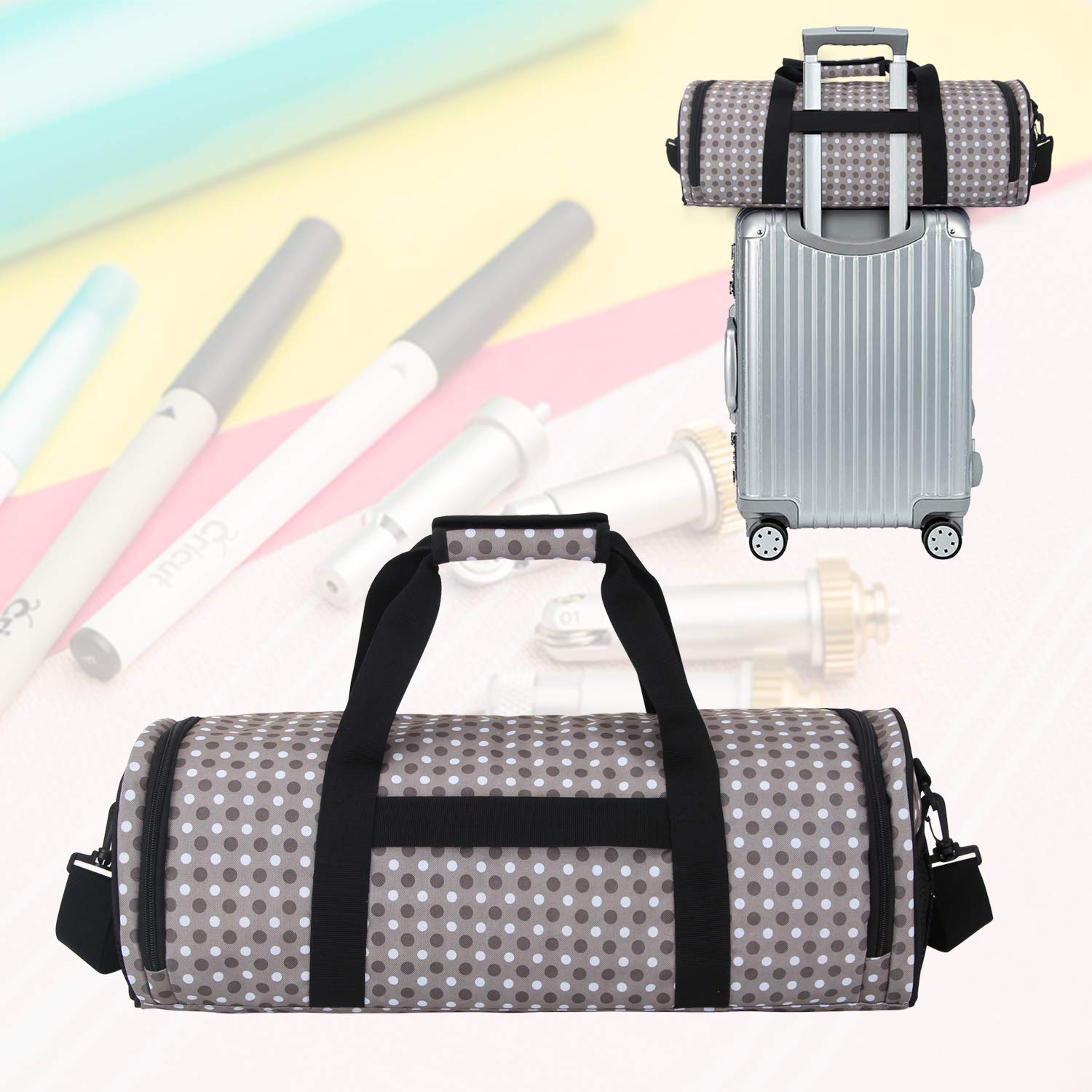 Yarwo Craft Tote Bag Compatible with Cricut Die-cut Machine and Cutting Mat 12 x 12 Gray Dots Cricut Maker and Accessories Travel Carrying Case Compatible with Cricut Explore Air Air 2