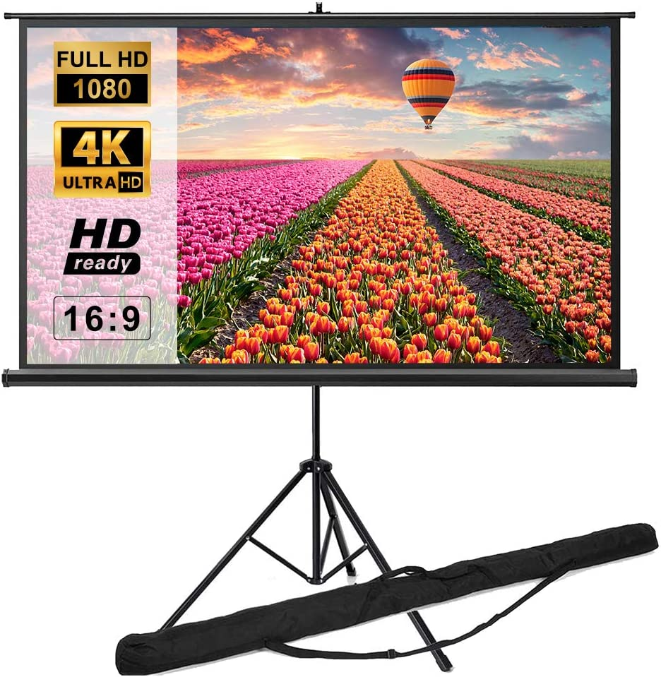 Tripod Projector Screen with Stand 100 inch 16:9 3D 4K 8K HD, Indoor Outdoor Portable Projection Screen with Carry Bag   Movie Screen for Home Theater Cinema Wedding Party Office