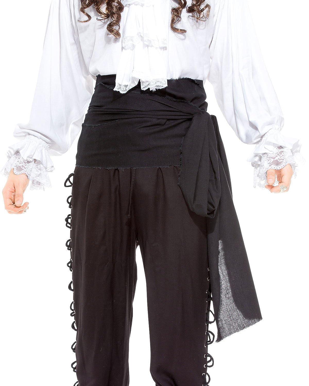 Large Black Linen Pirate Sash