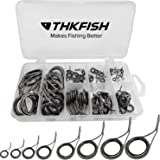 thkfish Fishing Rod Guide Repair Kit Spinning Rod Guides Ceramics Stainless Steel Carbon Guide Repair 8 Sizes Black/Burnished