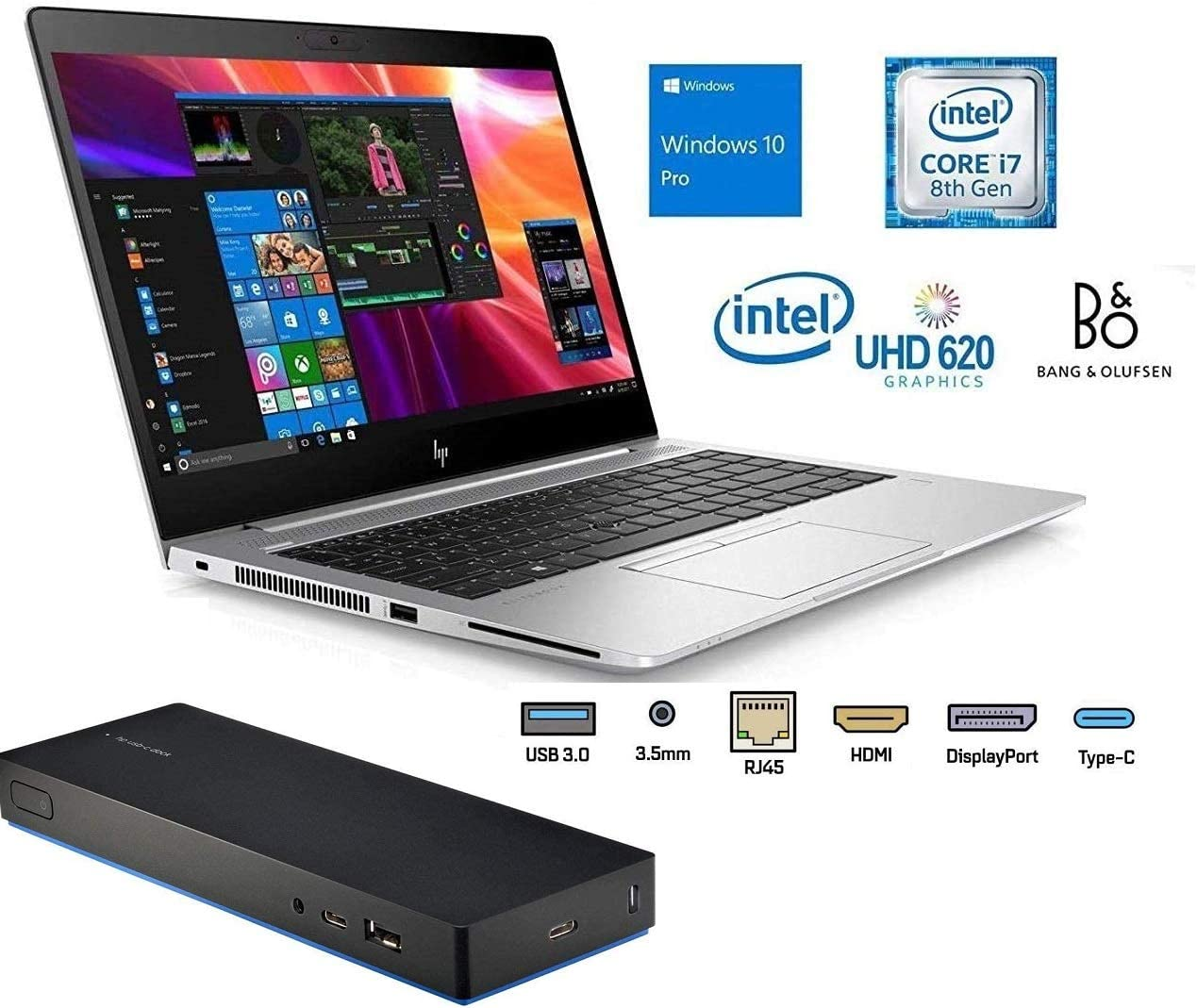 "HP Elitebook 840 G5 with Docking Station 14"" Full HD FHD (1920x1080) Business Laptop (Intel Quad-Core i5-8250U, 16GB DDR4 RAM, 256GB PCIe SSD), Backlit, Fingerprint, Thunderbolt, Windows 10 Pro 64-bit"