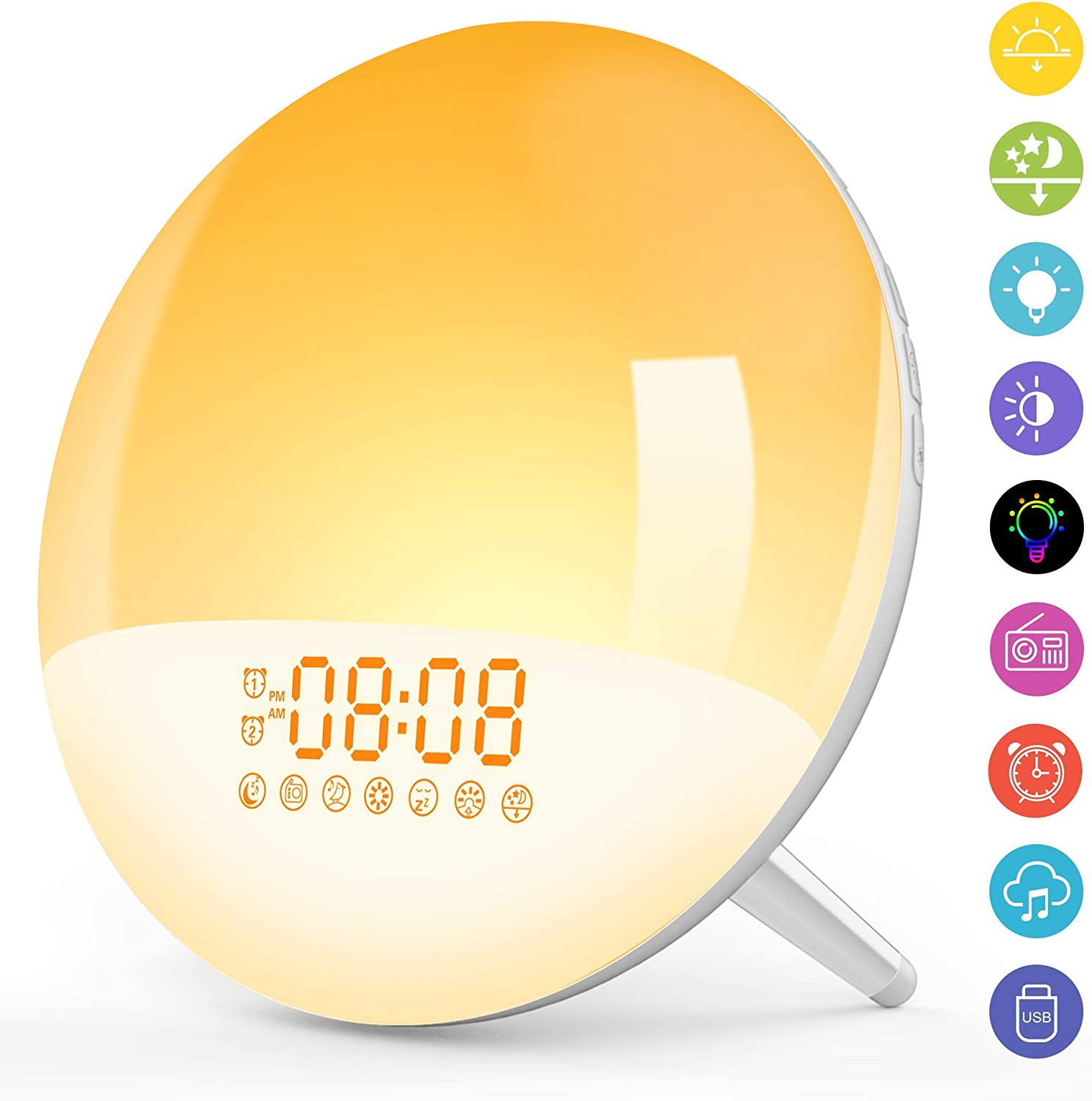 Night Light for Kids, Wake- Up Light, LBell 7 Colored Night Light/7 Natural Sounds & Sunrise Simulation, Dual Alarm Clock with FM Radio, Sleep Assist & Snooze for Kids Adults Bedrooms
