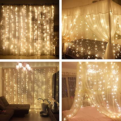 Yuliang led curtain lights 300led 3m3m98ft98ft christmas curtain yuliang led curtain lights 300led 3m3m98ft98ft christmas curtain string fairy lights aloadofball Image collections
