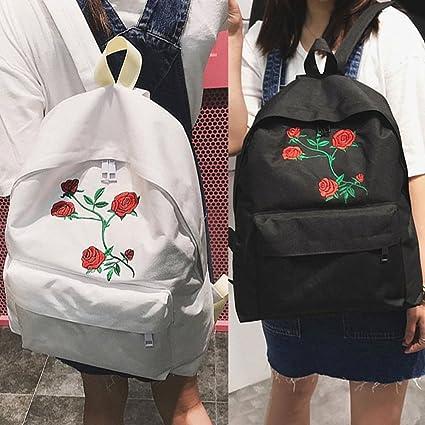 Mochila ligera vintage, diseño de rosas bordadas, mochila para la escuela, preescolar,