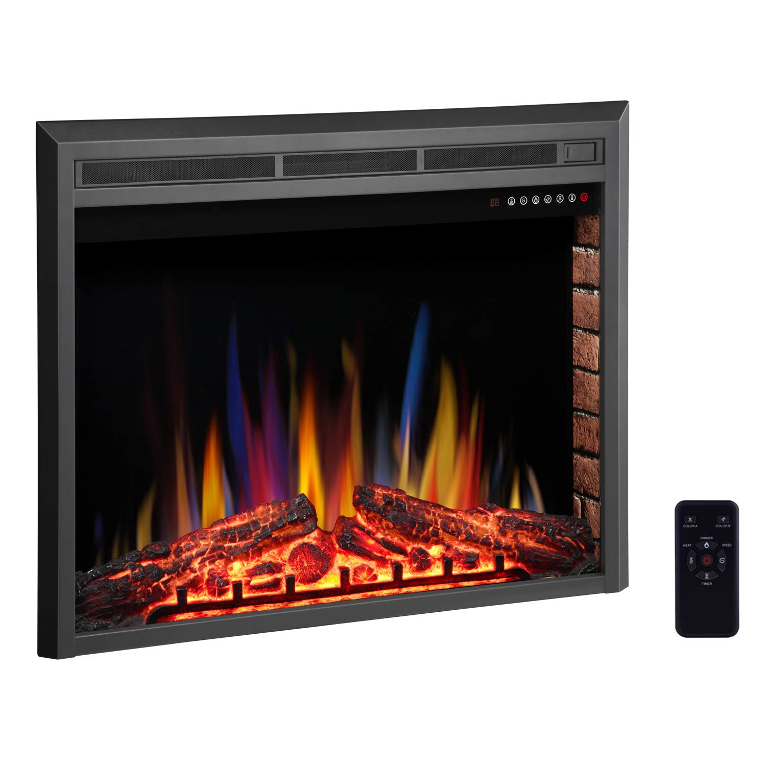 R.W.FLAME 39'' Electric Fireplace Insert,Freestanding & Recessed Electric Stove Heater,Touch Screen,Remote Control,750W-1500W with Timer & Colorful Flame Option by R.W.FLAME