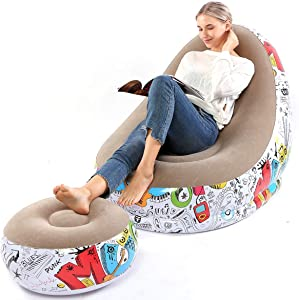 Lazy Sofa, Inflatable Sofa, Family Inflatable Lounge Chair, Graffiti Pattern Flocking Sofa, with Inflatable Foot Cushion, Suitable for Home Rest or Office Rest, Outdoor Folding Sofa Chair (Khaki)