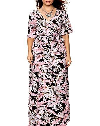 542dbea292e Aox Women Retro Short Sleeve V Neck A Line Bohemia Ethnic Style Elastic  Waistband Loose Split Long Beach Holiday Tank Maxi Dress (10 12