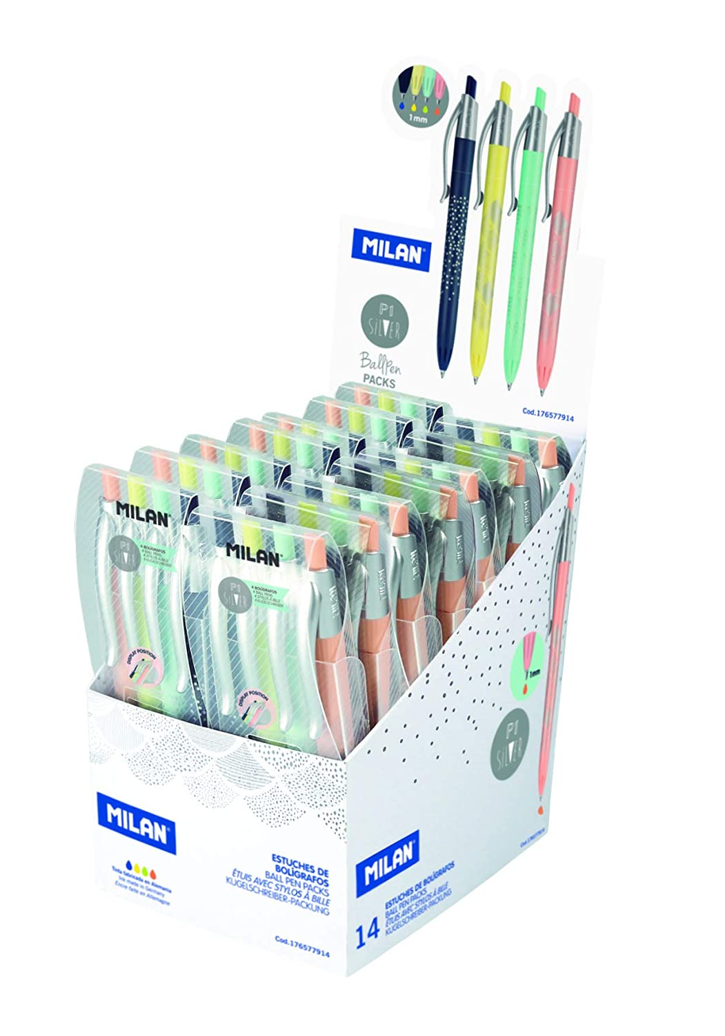Amazon.com : Milan Pen Case 4 Silver Colours : Office Products