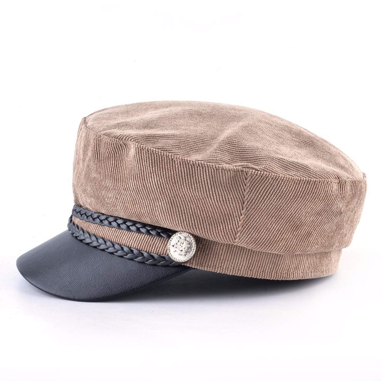 Women Corduroy Military Cap Spring Autumn Newsboy Cap Lady Twist Braiding Button Flat Beret