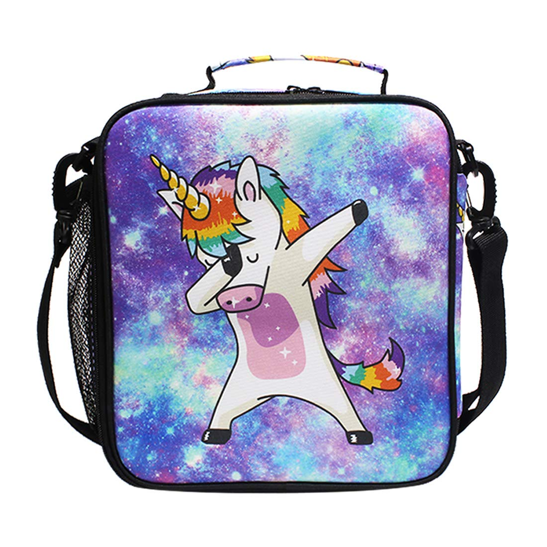 Unicorn Kids Lunch Box Insulated Lunch Bag Large Freezable Lunch Boxes Cooler Meal Prep Lunch Tote Universe Galaxy with Shoulder Strap for Boys Girls