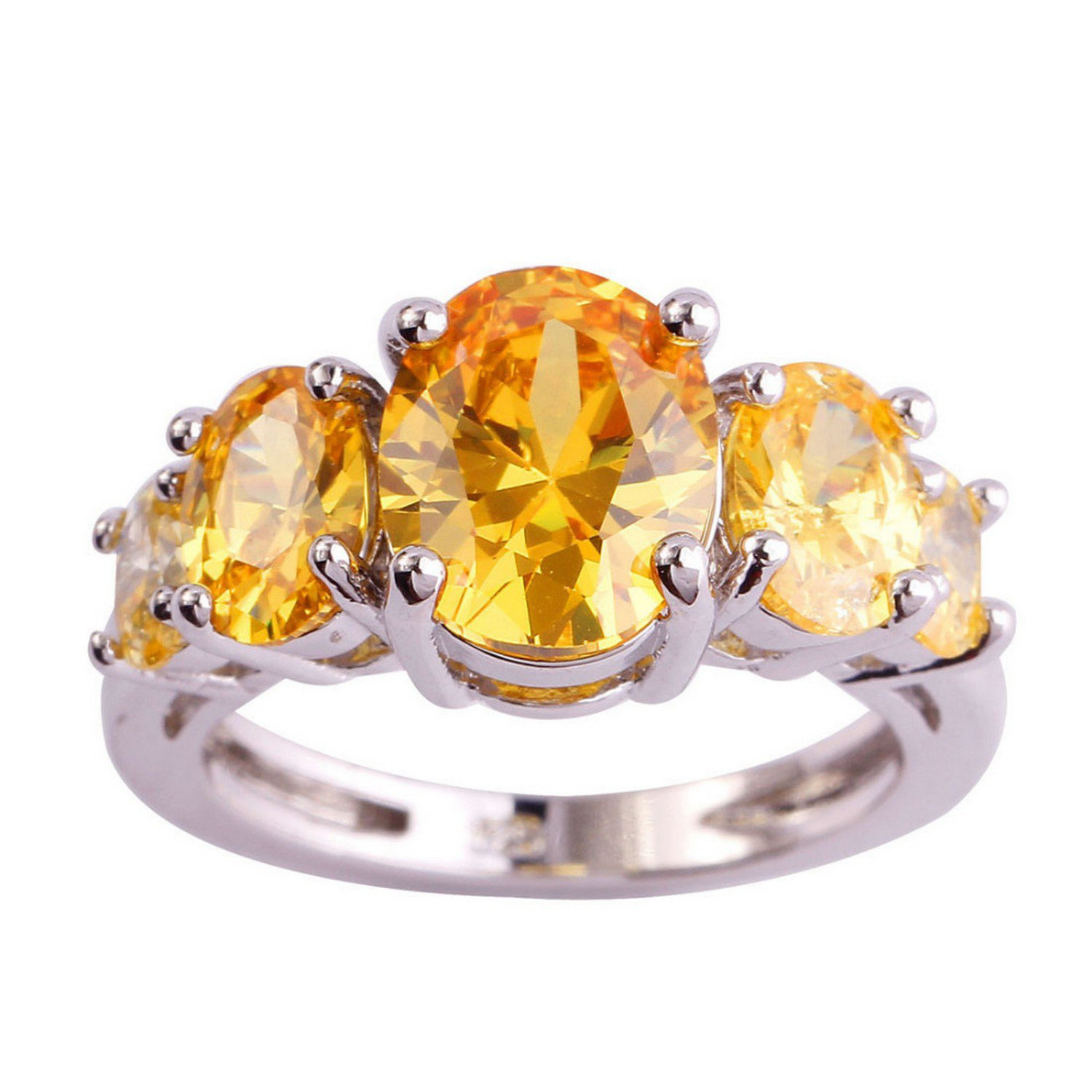 Gemmart Gorgeous Oval Cut Gold Silver Ring Size 6 7 8 9 engagement rings fashion ring sets