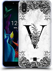 Head Case Designs Officially Licensed Nature Magick Letter V B&W Marble Monogram 2 Soft Gel Case Compatible with LG K20 (2019)