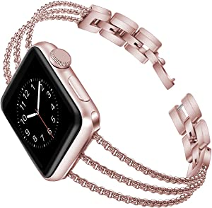 Biaoge Metal Band Compatible for Apple Watch Band Series 4 40mm 44mm/ iWatch Series 6 SE 5 3 2 1 38mm 42mm,Adjustable Stainless Steel Replacement Wristband Strap Cuff Bangle Bracelet(Rose Pink, 42mm)