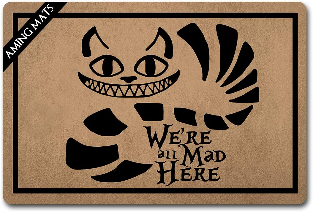 AMING mats Funny Home Decor Personalized Door Mats(23.6 X 15.7 in) with Anti-Slip Rubber Back Doormat Gift Door Mat for The Entrance Way (We're All Mad Here)