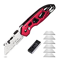 Ginnix Cuttermesser Teppichmesser Taschenmesser Klappmesser Metall, mit klasische Design inkl. 6 Ersatzklingen, rutschfestem schweißfest Aluminiumgriff, ideal für Familienleben,Büro,Outdoor (Rot)