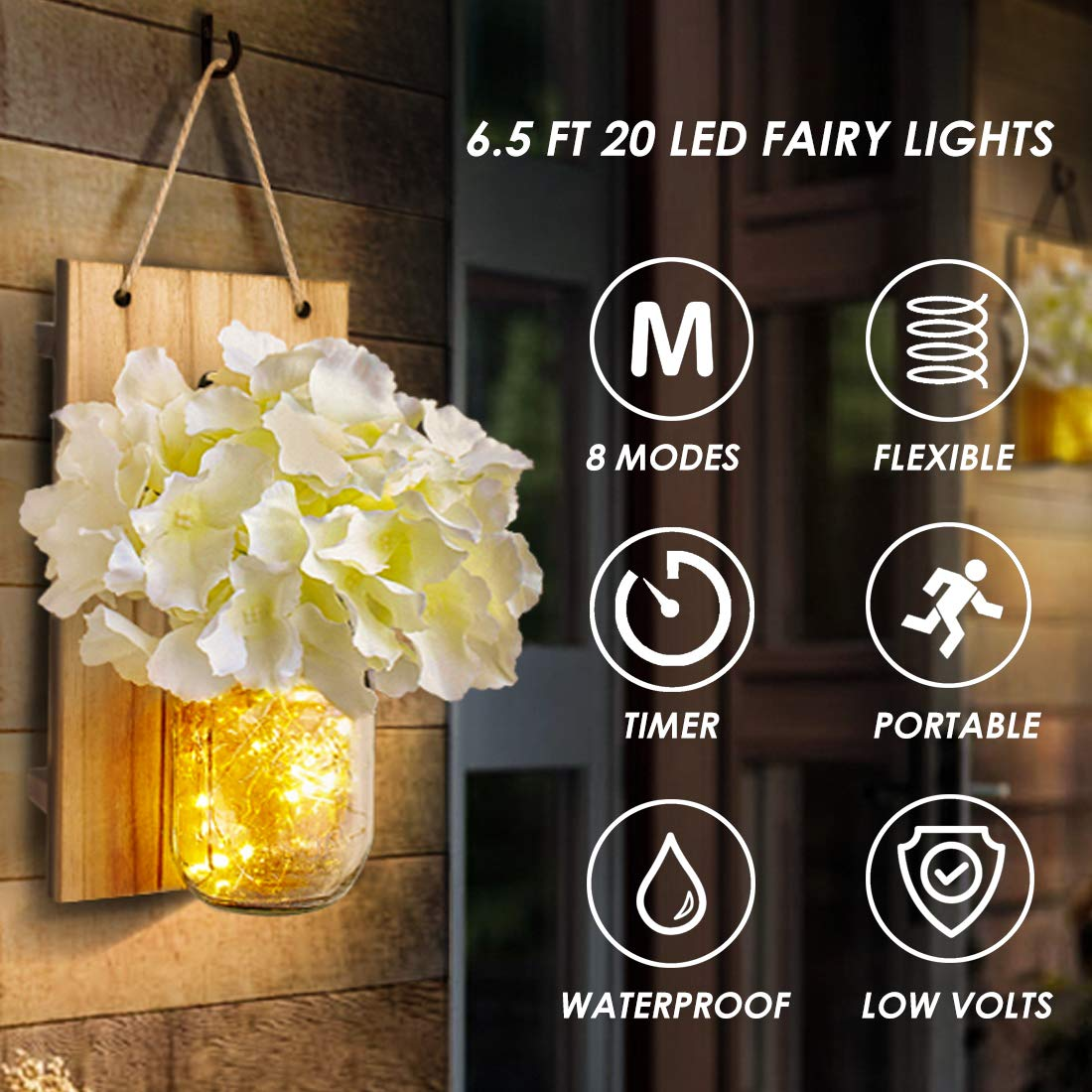 Fairy Lights,Vintage Wrought Iron Hooks 8 Modes Mason Jar Sconces LED Silk Hydrangea Flower LED Strip Lights Design Home Kitchen Decoration Set of 2