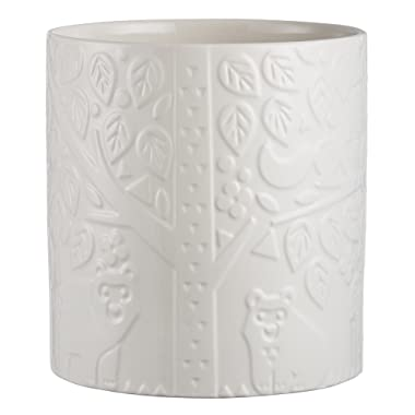 Mason Cash In the Forest Utensil Pot, Large Durable Stoneware Crock for Organizing Kitchen Tools, Intricate Embossed Design, 90-Fluid Ounces, Cream