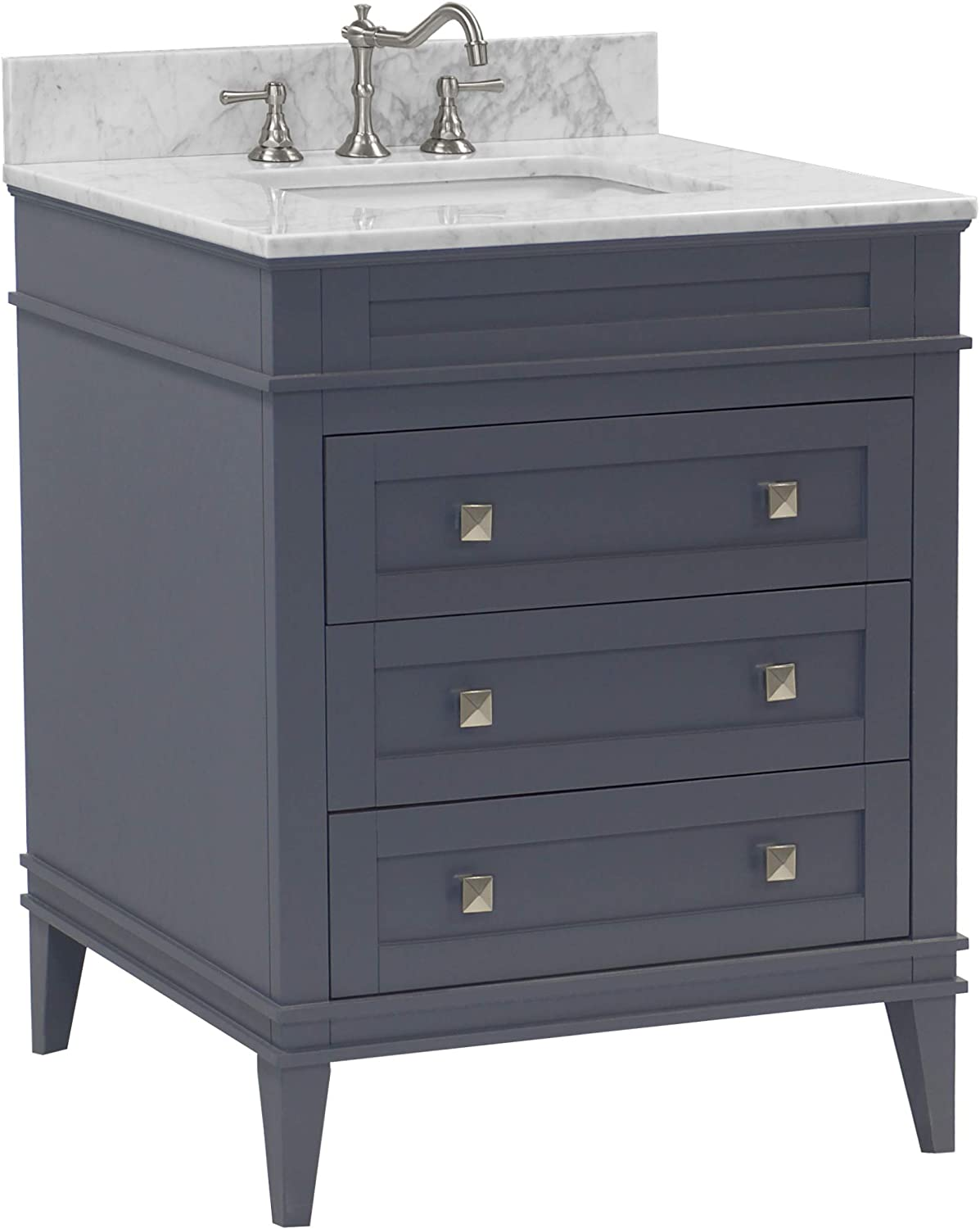 Eleanor 30 Inch Bathroom Vanity Carrara Charcoal Gray Includes Charcoal Gray Cabinet With Authentic Italian Carrara Marble Countertop And White Ceramic Sink Home Improvement Amazon Com