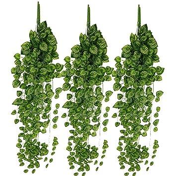 strir 6pcs plantas enredaderas artificiales exterior simulacin de plantas colgantes de plstico verde decoracin para pared - Plantas Colgantes Exterior