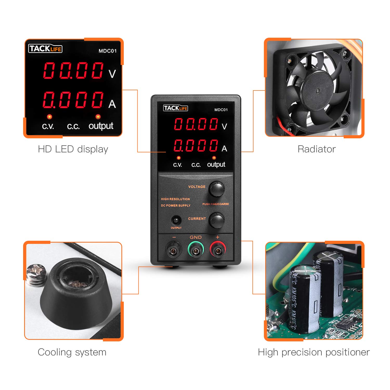 DC Power Supply Variable, Tacklife 4 digital LCD display (0-30V/0-5A) Switching DC Regulated Power Supply, Reverse polarity/high temperature protection, with 110V/115CM Alligator Leads by TACKLIFE (Image #4)