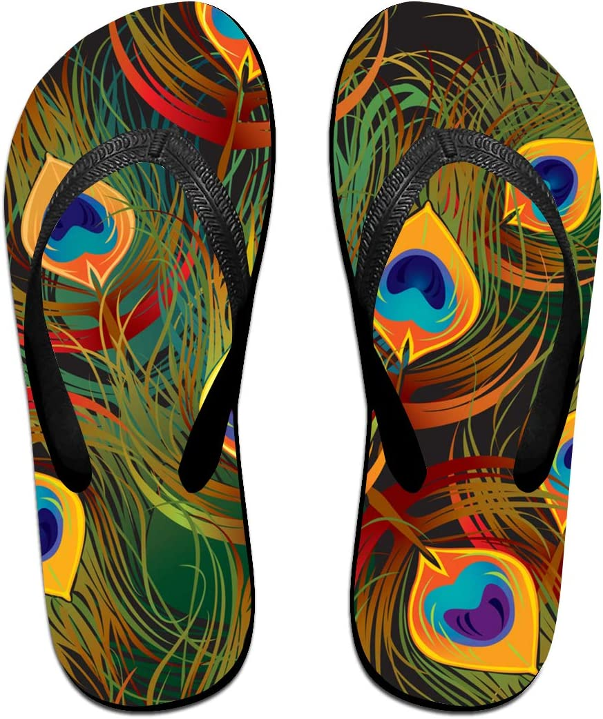 GQOP Unisex Flip Flops Peacock Feather Personalized Thong Sandals Beach Sandals