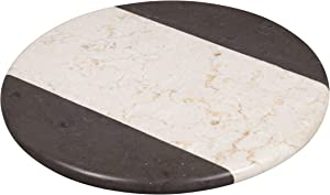 Creative Home 2-Tone Natural Champagne and Charcoal Marble 12 Inch Lazy Susan Cake Dessert Serving Platter, Beige/Black