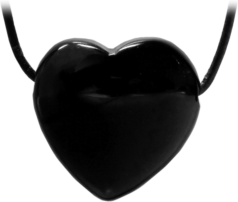 Kaltner Präsente - Collar de piel para hombre y mujer con colgante de corazón de piedra preciosa de ónice negro (diámetro de 30 mm)