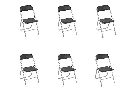 Sedie Metallo Imbottite.Toto Piccinni Sedie Pieghevoli Comode Di Alta Qualita In Metallo Imbottite In Ecopelle Resistenti Salvaspazio Nero 6
