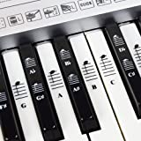 Piano and Keyboard Music Note Full Set Stickers for White and Black Keys; Transparent and Removable! - for Easy Piano…