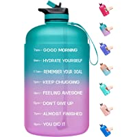 Venture Pal Large 1 Gallon Motivational Water Bottle with 2 Lids (Chug and Straw), Leakproof BPA Free Tritan Sports…