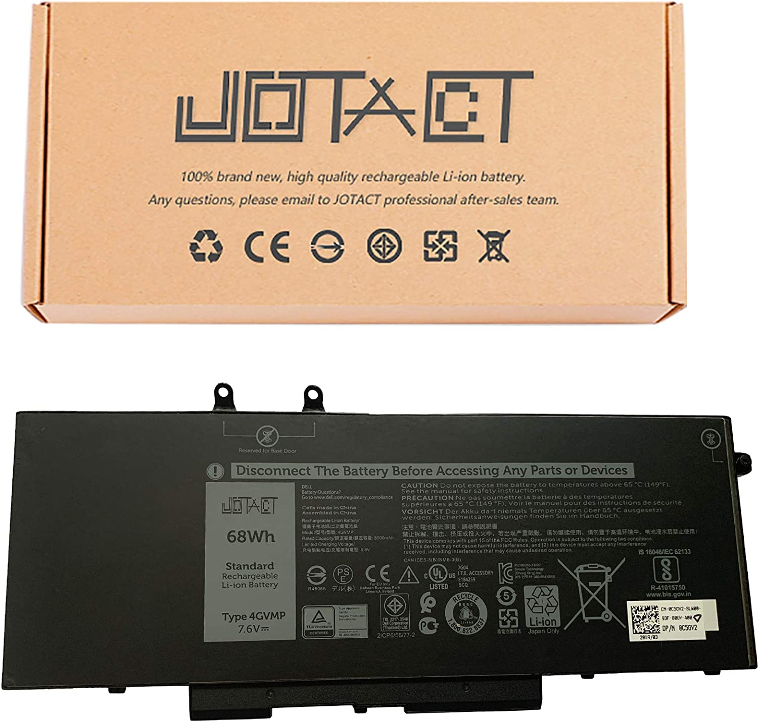 JOTACT 4GVMP Laptop Battery Replacement for Dell Latitude 5400 E5400 5410 E5410 Precision 3540 M3540 Inspiron 7590 7591 7791 2-in-1 Series Notebook 1V1XF R8D7N 9JRYT 09JRYT 7.6V 68Wh/8500mAh 6 Cell