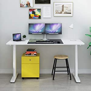 Eureka Ergonomic 60 inch Computer Desk, Modern Simple Style Home Office PC Writing Desk Table with Free Mousepad Easy Assembly, White