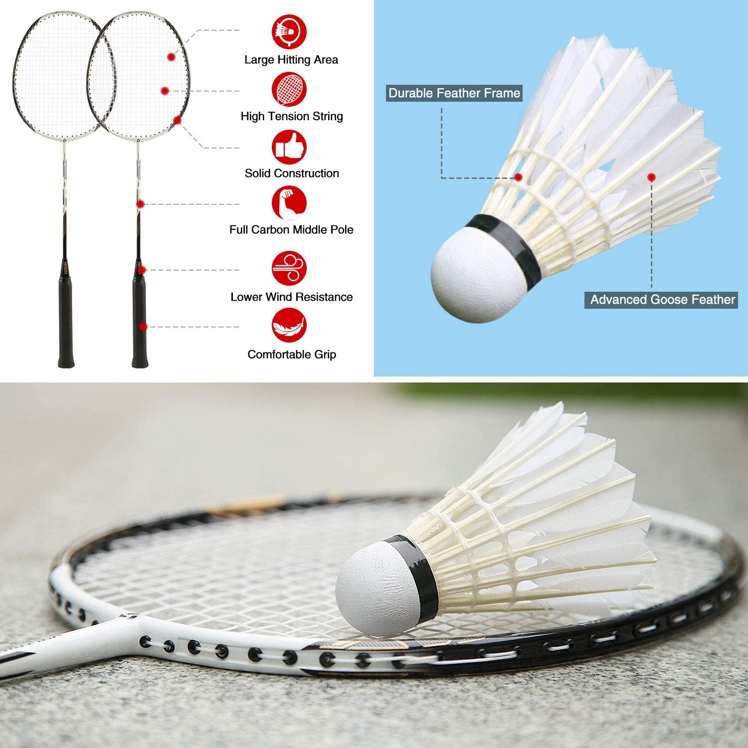 Patiassy Professional Portable Badminton Net Set System for Indoor/Outdoor with Winch System, 4 Carbon Fiber Badminton Rackets, 2 Goose Feather Badminton Shuttlecocks and Carrying Bag : Sports & Outdoors