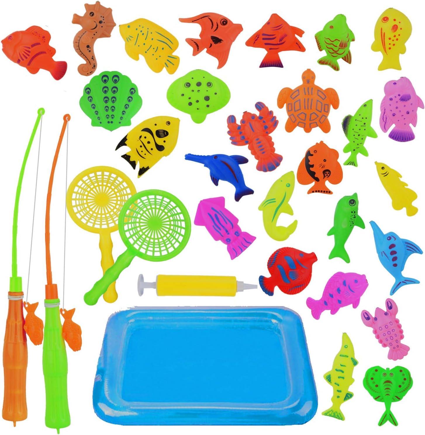 Abree Juego de Pesca Magnética(26 Peces) - Juguete Educativo&Interactivo de Pesca con Caña - Juguetes de Piscina & Bañera para Niños - Juego Acción&Juguete Reflejo para Bebé/Niños (2 - 5 a