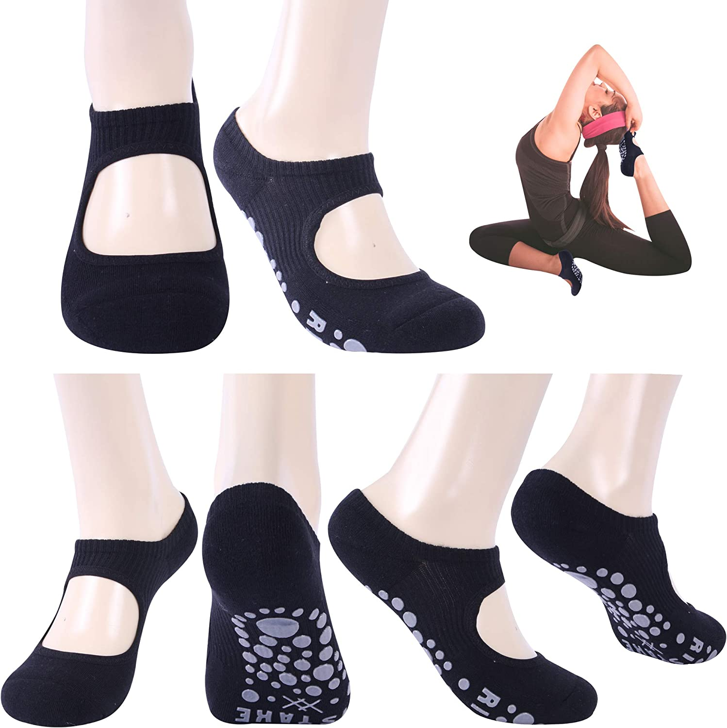 Ristake Yoga Socks for Women, Non-Slip Grip Socks for Pilates, Pure Barre, Dance, Barefoot Workouts, 3/6 Pairs
