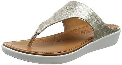 FitFlop Banda II Toe-Thong Metallic, Sandales Bout Ouvert Femme, é (Metallic Silver 527), 38 EU