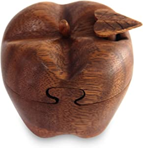NOVICA Artisan Crafted Apple Shaped Wooden Puzzle Box, Brown 'Forbidden Fruit'