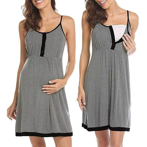 d24c0cdf STRIR Mujer Vestido Largo premamá y de Lactancia Sin Mangas Camisón Lactancia  Pijama Embarazada Ropa para