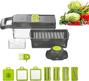 Yan&Dan Mandoline Slicer Vegetable chopper Manual Slicer 12- in -1 Set Food chopper 1 main part, 6 blades, 1 vegetable box, 1 hand protecor, 1 garlic paste slicer, 1 cleaning brush