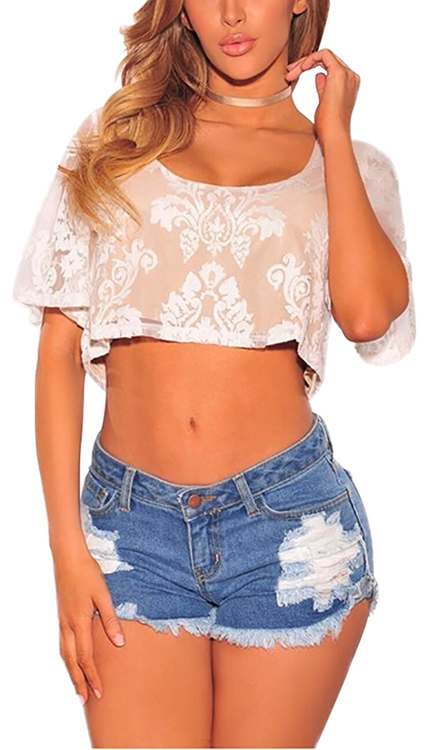 LULULADY Womens Low Waist Ripped Hole Washed Distressed Short Jeans