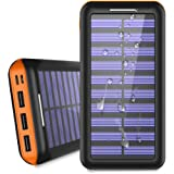 Solar Charger 24000mAh Portable Power Bank, ALLSOLAR External Battery Pack with 2 Input and 3 Output USB, iSmart 2.0 Tech Fast Charging for iPhone,iPad & Samsung Galaxy & More-Orange